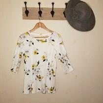 Anthropologie T.la Rooney T Tee Shirt Top Floral Xs White Yellow 3/4 Sleeves Euc Photo