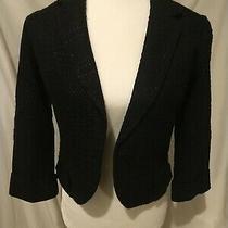 Anthropologie Tabitha Cropped Blazer Jacket Black 4 Photo