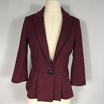 Anthropologie Tabitha Red and Black Textured 3/4 Sleeve 1 Button Blazer Womens S Photo
