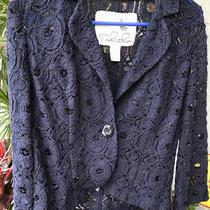 Anthropologie Tabitha Sz 6 Women's Navy Blue Woven Lace 1 Button Jacket Photo