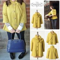 Anthropologie Tabitha Yellow Wool Ascot Swing Coat Size Medium Retro Vintage Photo