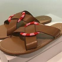 Anthropologie Tan Leather Criss Cross W/ Red Pink Ring Slide Sandals - Sz 39 Eu Photo