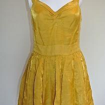 Anthropologie the Addison Story Pleated Baby Doll Gold Yellow Mini Dress Sz M Photo