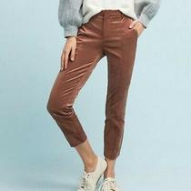 Anthropologie the Essential Slim Brown Velveteen Cropped Trouser Pants - Size 2 Photo