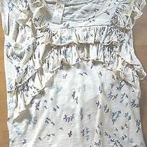 Anthropologie Top Shirt Blouse M Birds Ivory Photo