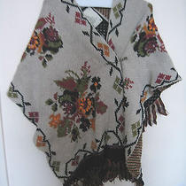 Anthropologie Tufted Roses Cape Shawl by Floral Ivory Wrap Scarf Bnwt One Size Photo