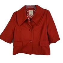 Anthropologie Tulle Pea Coat S Red Wool Blend Jacket Womens Pockets Winter Small Photo