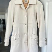 Anthropologie Tulle Womens Wool a Line Coat Ivory Winter White Size S Photo
