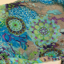 Anthropologie Turquoise Geometrical Print Infinity Scarf Cover Up Photo