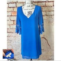 Anthropologie Umgee Blue Crochet Half Sleeve Scoop Neck Shift Dress Size Small Photo
