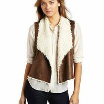 Anthropologie Velvet by Graham & Spencer Sherpa Faux Leather Shearling Vest Sz L Photo