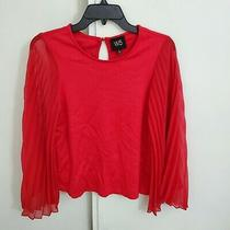 Anthropologie W5 Women's Scoop Neck Red Long Sleeve Top Blouse Small Photo