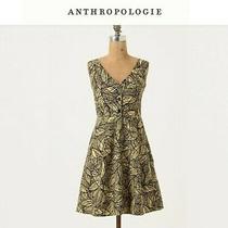 Anthropologie Weston Wear Emerging Leaves Mustard Yellow v-Neck Sleeveless Dress Photo