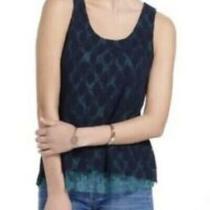 Anthropologie Weston Wear Womens Top Sz S Lace Layered Tank Navy Blue Photo
