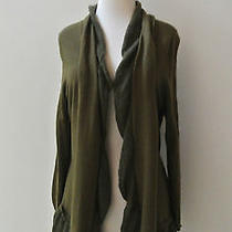 Anthropologie Whipped Woolens Cardigan Sweater L Olive Green Birds on a Wire Photo