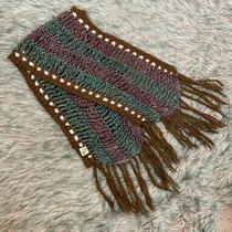 Anthropologie Winter Scarf Brown/green Metallic Pink Ribbon Thread One Size  Photo