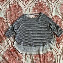 Anthropologie Women's Casual Light Knit Top Xs Loose Fit Gray & Ivory Photo