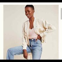 Anthropologie Womens Cream Nina Embroidered Bomber Jacket Size Xl Photo