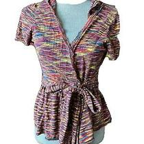 Anthropologie Women's Moth Sweater Hoodie Cardigan Size Medium Muticolor Belted Photo
