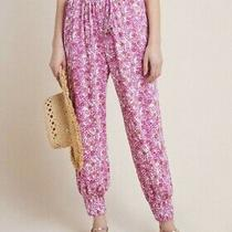 Anthropologie Women's Us Size M - Abstract Floral Joggers Pants - Pink Floral Photo