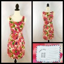 Anthropologie Women Sz 2 Dress - Postmark Blushing Olena Floral Linen Sleeveless Photo