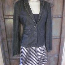 Anthropologie Womens Denim Blazer Size S Pilcro Letterpress Jacket Fitted Top Photo