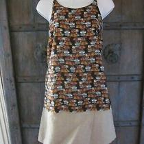 Anthropologie Womens Size L Layered Swing Tank Top Suitcase Luggage Split Back  Photo