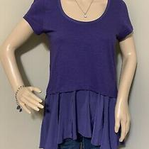 Anthropologie Womens Top  9-H15 Stcl Stretch Purple Peplum Blouse Size Xs Cute Photo