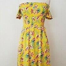 Anthropologie Wrap Dress New  Size Small Yellow Summer Smocked Floral Tulip Hem Photo