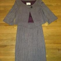 Anthropologie Wyeth by Todd Magill Purple Herringbone Skirt Suit Size M Lined Photo