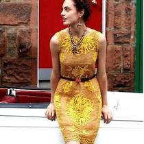 Anthropologie X Yoana Baraschi - Golden Yellow Honeycomb Dress Size 8 Photo