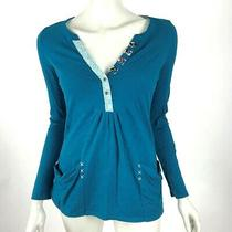 Anthropologie Yellow Button Blue Top Pocket v Neck Cotton Long Sleeve Women Xs Photo