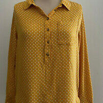Anthropologie Yellow Embroidered Button Back Top Sz Medium Photo