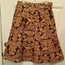 Anthropologie Yoana Baraschi Gold/brown a-Line Skirt Size 6  Fully Lined Photo