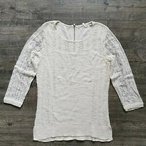 Anthropology Woman Sweater Top Knitted and Knotted Size Medium White Back Zip   Photo