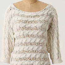 Anthrpologie Moth Tape Yarn Pullover Sweater Size L Ivory New Photo