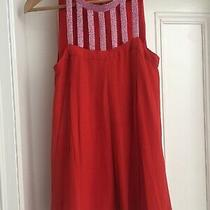 Antik Batik Sleeveless Tunic Mini Dress Red Silk Chiffon Pink Beads Party M Photo
