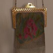 Antiq  Whiting Davis Art Deco Floral Enamel Fine Metal Mesh Handbag Mirror Orig Photo
