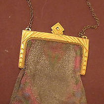 Antique Art Deco Handmade Whiting Davis Gold Mesh Ring Purse Clutch Bag Colored Photo