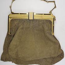 Antique Art Deco Whiting and Davis Gold & Enamel Mesh Bag Purse  Photo