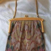 Antique Art Deco Whiting Davis Fine Chain Enamel Dresden Mesh Purse Bag Flapper Photo