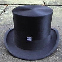 Antique Burton Black Silk Top Hat Sz 7 3/8 ... Photo