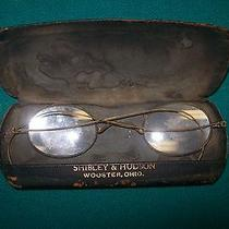 Antique Circle  Wire Glass Frames Shibley & Hudson Wooster Ohio With Case  Photo