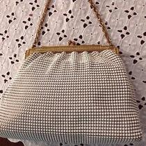 Antique Clutch Purse White Beaded on Mesh Whiting & Davis Made in Usa Photo