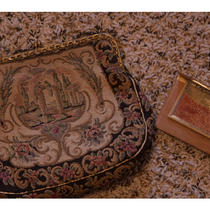 Antique Dual-Sided Scene Tapestry Purse W/ Original Chain Mirror in Case Photo