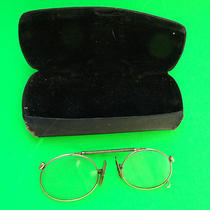 Antique Expanding Top Pince Nez (Pinch on the Nose)  Eye Glasses in Case Photo