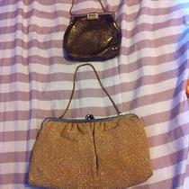 Antique Flapper Style Purses Matching Gloves and Pin Included Whiting Davis Photo