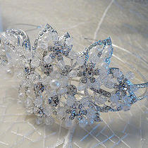 Antique Flower Handmade Swarovski Pearl Bridal Wedding Tiara Crown Headpiece Photo