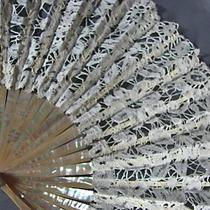Antique French Eventails Old Hand Fan Mother Pearl Lace Benjamin Lachelin Paris Photo