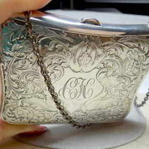 Antique Hand Chased Fancy Sterling Silver Purse & 6